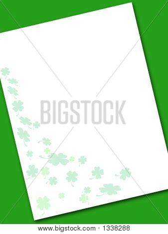 Shamrock Note Paper On Green