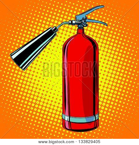 realistic red fire extinguisher pop art retro vector. tool of the fire service