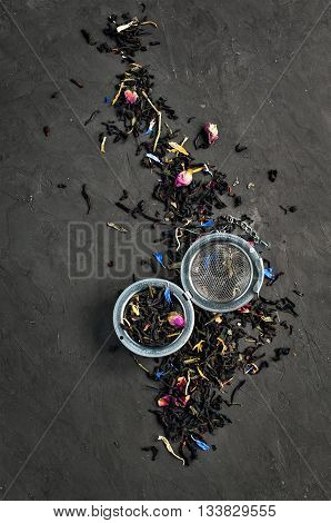 Dry Tea Flavored With Flowers And Herb With Tea-strainer
