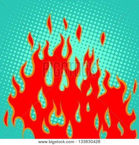 Fire red pop art retro vector. Abstract fire background