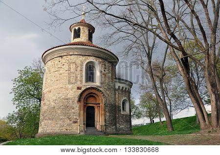 Prague, Czech Republic - April 13, 2016: St. Martin's Rotunda at Vysehrad Prague. Round old church against the thunderous sky.