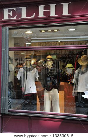 Lyon France - april 13 2016: cloth shop in saint Jean district in the old historical Lyon