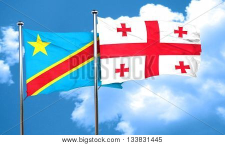 Democratic republic of the congo flag with Georgia flag, 3D rend