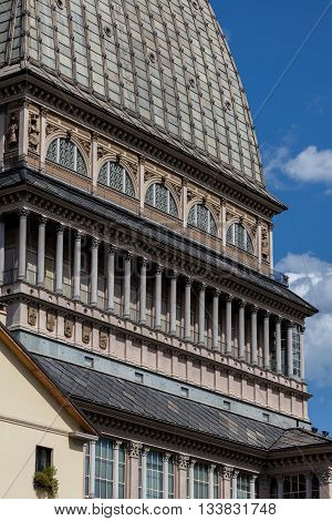 Mole Antonelliana designed by Alessandro Antonelli and completed in 1889 is a major landmark building in Turin Italy. It houses The National Museum of Cinema and is the tallest museum in the world.