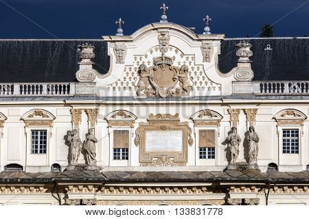 Facade of the Castello del Valentino in Turin Italy a 17th century palace former residences of the Royal House of Savoy. It is included in the list of UNESCO World Heritage Sites in 1997.