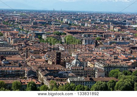 TURIN ITALY - APRIL 25 2016: Panorama of the Turin Italy as viewed from the Turin Eye air balloon.