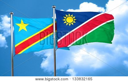 Democratic republic of the congo flag with Namibia flag, 3D rend