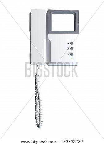 3D rendering intercom isolated on white background