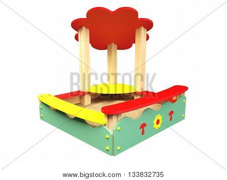 3D rendering sandbox isolated on white background