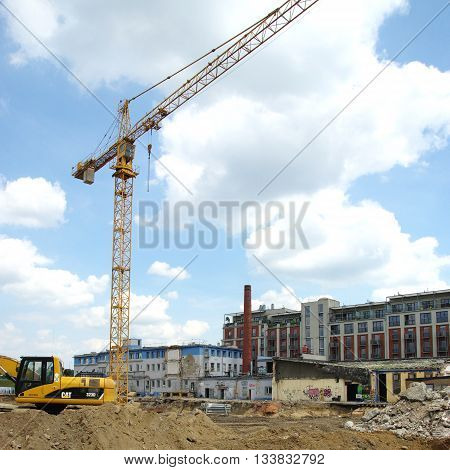 KRAKOW, POLAND - June 04, 2016: Podgorze district, Przemyslowa street. Modernization and expansion of the old industrial area.