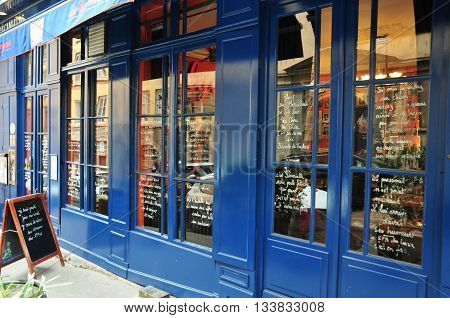Lyon France - april 13 2016: restaurant in the saint Jean district in the old historical Lyon