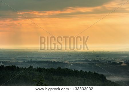Sunset over Dresden view from Pfaffenstein in Saxony Germany.