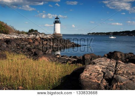 Fort Pickering (Winter Island) lighthouse in early evening in Salem Massachusetts.