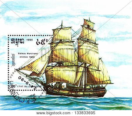 STAVROPOL RUSSIA - MAY 29 2016: a stamp printed by Cambodia shows old Merchant ship circa 1990 .
