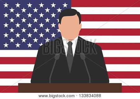 Politician is standing behind podium, USA flag at background