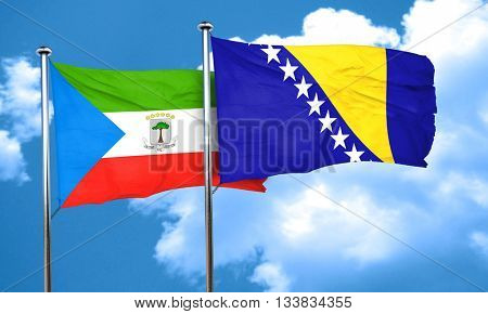 Equatorial guinea flag with Bosnia and Herzegovina flag, 3D rend