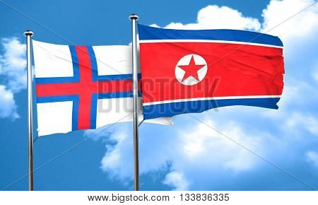 faroe islands flag with North Korea flag, 3D rendering