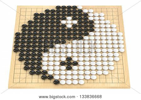 Go game concept go stones forming yin yang symbol. 3D rendering