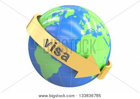 Visa Around the World concept 3D rendering isolated on white background
