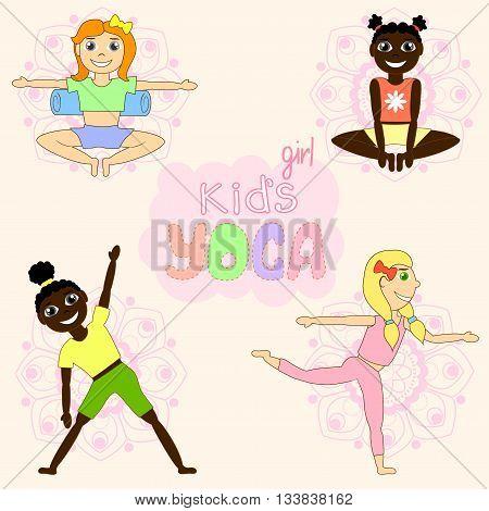 Kid's yoga. Kid's yoga pattern. Green background. Mandala.