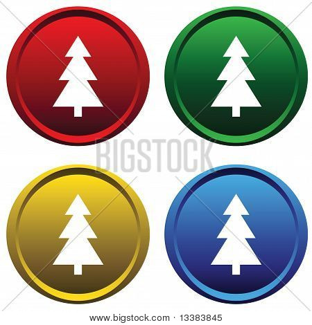 Plastic buttons with a tree