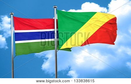 Gambia flag with congo flag, 3D rendering