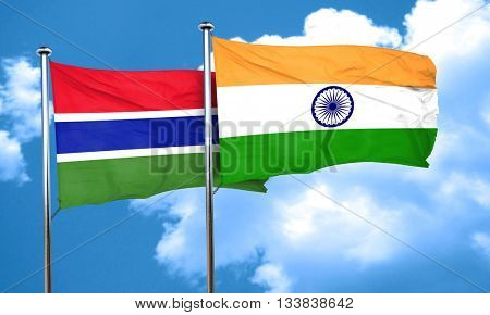 Gambia flag with India flag, 3D rendering