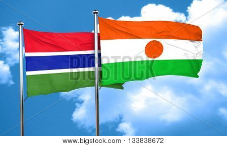 Gambia flag with Niger flag, 3D rendering