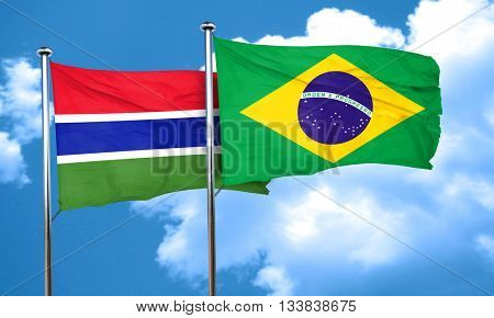 Gambia flag with Brazil flag, 3D rendering
