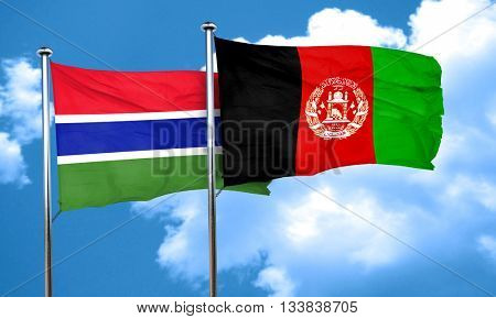Gambia flag with afghanistan flag, 3D rendering
