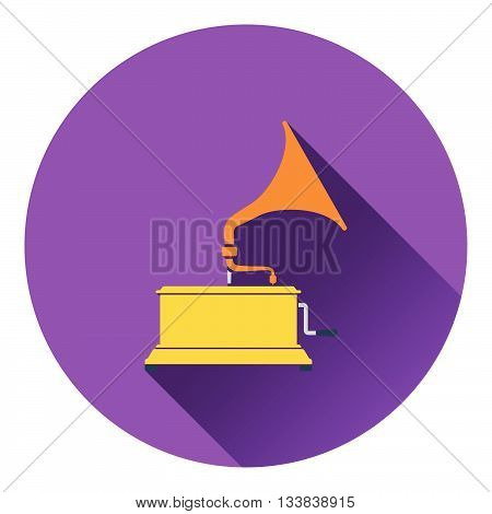 Gramophone icon. Flat design in UI colors. Vector illustration.