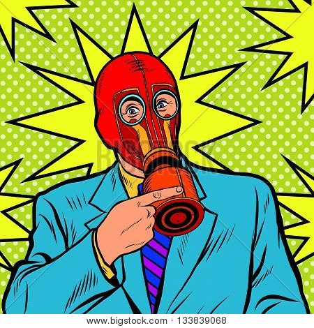 Gas mask, vintage rubber pop art retro vector. Chemical and biological protection. Military equipment, nuclear contamination. War
