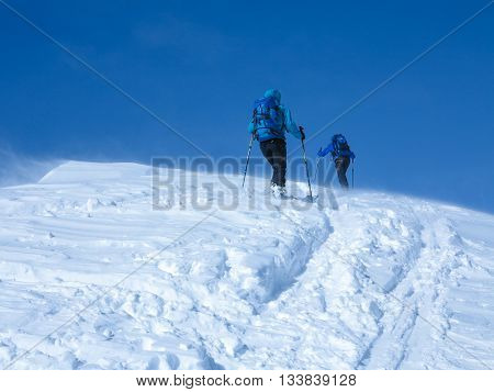 ski touring in Italy with friends in the mountain
