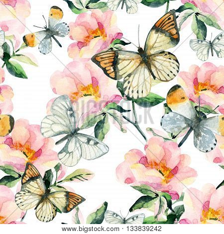 Watercolor briar flowers and butterfly seamless pattern. Pastel colored Dog Rose branches on white background. Hand painted illustration with paper texture