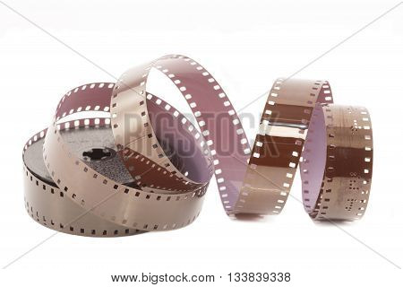 Microfilm strip close up isolated on white