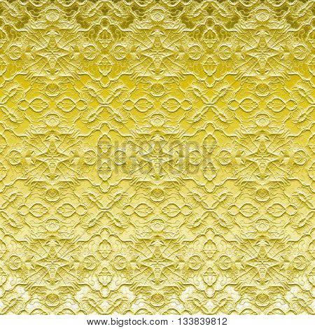 Yellow ornamental embossed sanded glass pattern on window made seamless