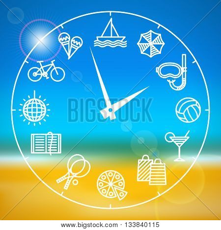 Clock with different activities for the summer holidays on blurred background with sea and beach. Summer holidays and varied pastimes. Summer leisure concept