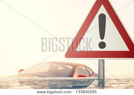 Warning sign standing in flood water in front of a flooded car - computer generated image