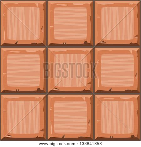 Cartoon Hand Drown Orange Seamless Decorative Old Tiles Texture
