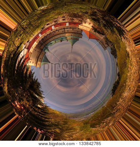 Panoramic view of romantic castle at 360 degree mini planet.