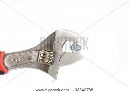French screw key wrench isolated on white backgorund