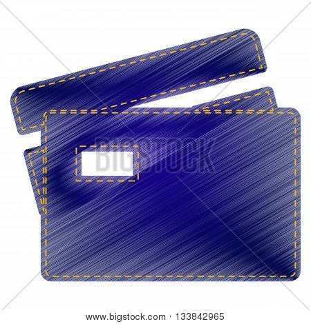 Credit Card sign. Jeans style icon on white background.