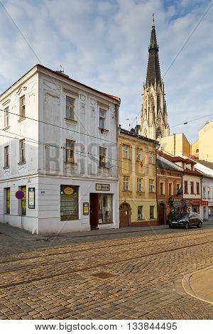 OLOMOUC, CZECH REPUBLIC - JUNE 04, 2016: Scene from the old town of Olomouc, Czech Republic on June 04, 2016.