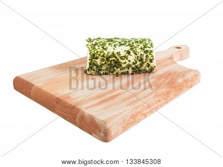 chives cheese on wooden cutting board on white background