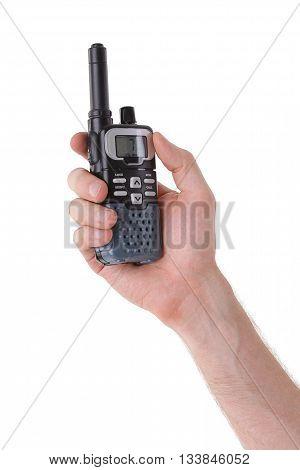 Portable UHF radio transceiver isolated on white background
