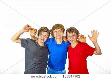 Three Happy Joyful Friends In Blue, Red And Black