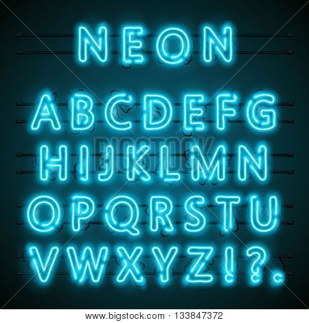 Neon font text. Neon blue font english. Lamp blue font. Alphabet font. Vector illustration