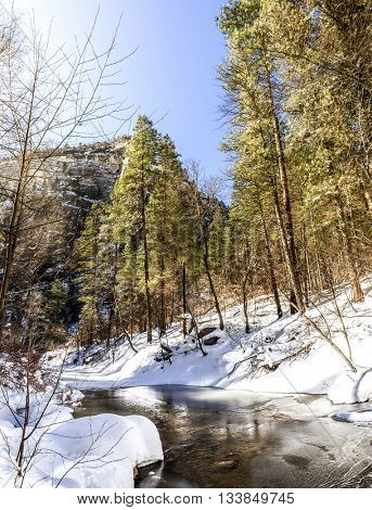 Oak Creek on West Fork Trail near Sedona, Arizona after snow storm