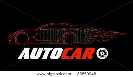 On the image is presented dynamic silhouette of the car, logo automotive topics