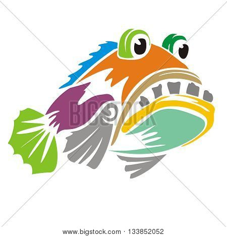 Design Grouper fish colorful, suitable for the icon, print shirts, and more.
